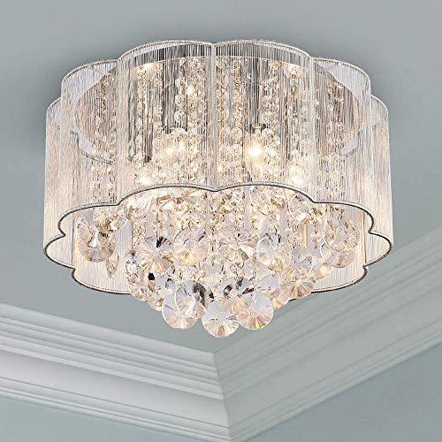 Bestier Moderne Crystal Regentropfen Kronleuchter Beleuchtung Unterputz LED Deckenleuchte Pendelleuchte für Esszimmer Badezimmer Schlafzimmer 6 E14 Lampen Erforderlicher