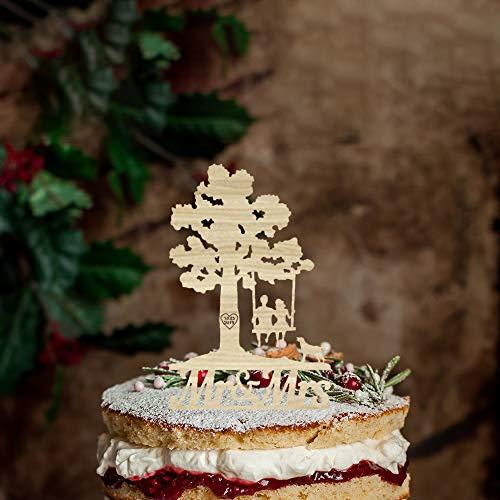Rustieke Silhouette Bruiloft Taart Topper met Gouden Retriever,Gepersonaliseerde Naam Taart Topper,Mr &Mrs Bruiloft Topper met Bruid en Groom voor Verjaardag