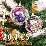 Trasparenti Palline di Natale 20PZ, Zogin Palline Sfere Apribili da Riempire Decorazione Natale per Albero Natale Addobbi(Diametro 8 CM)