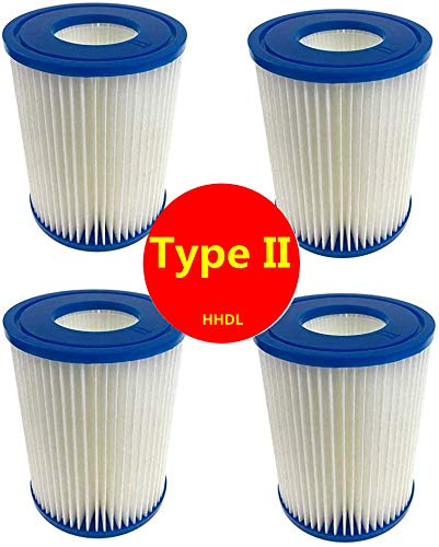 Filtro de piscina HHDL tipo 2, apto para Bestway 58094 - Cartucho de filtro de piscina, reemplazo de cartucho de filtro fácil de configurar (4 piezas)