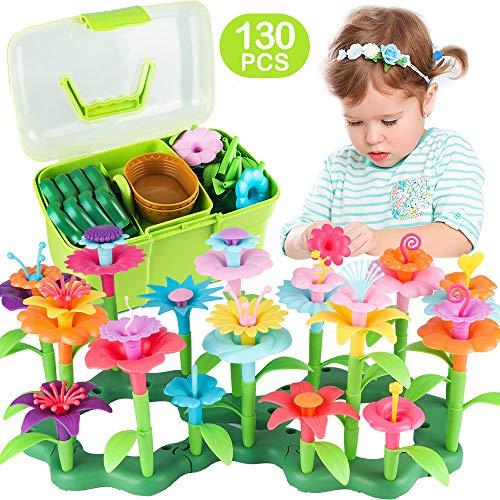 CENOVE Girls Toys Age 3-6 Year Old Toddler Toys for Girls Gifts Flower Garden Building Toy Educational Activity Stem Toys(130 PCS)
