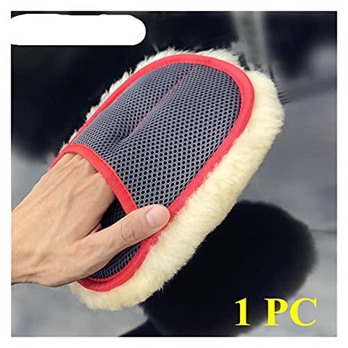 Am-pm Super mjuk andningsförmåga mesh paws 100% fårskinn bil tvätt rengöring polering handskar lyx lammullmitt (Color : 1 PC Yellow Mitt)