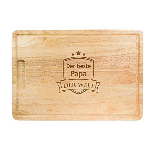 Crazy Kitchen – Großes Schneidebrett aus Holz mit Gravur – Bester Papa der Welt – Standard – Küchenbrett – Saftrille – Tranchierbrett als Geschenkidee zum Vatertag – Geburtstagsgeschenk für Männer