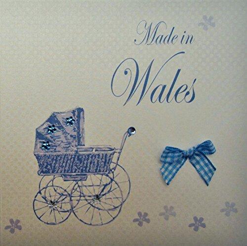 Wit Cotton Card-Made in Wales handgemaakte baby Town kaart met blauwe kinderwagen