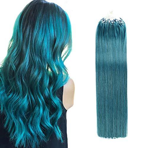 Micro anneau de boucle prolongements de cheveux humains I Tip Micro Liens Remy postiche Bleu Silky Hétéro Real cheveux pour les femmes 100 Brins 50G,20inch(50cm)