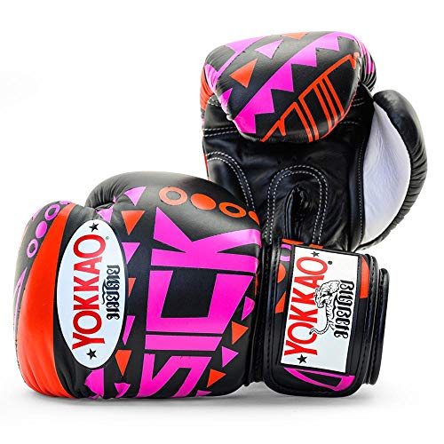 YOKKAO - Guanti da boxe Muay Thai in pelle traspirante (400 oz)