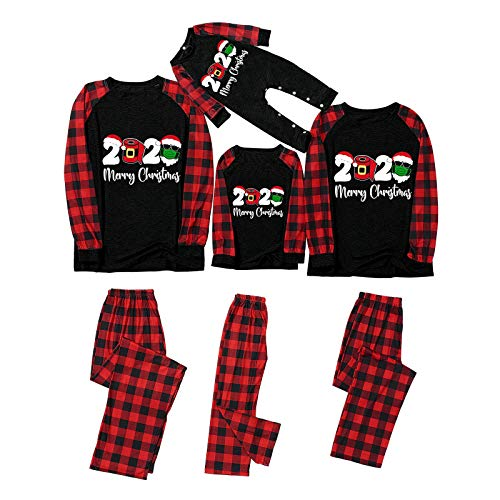 Merry Christmas Pajamas for Family Set, 2020 Matching Christmas PJS Reindeer Plaid Xmas for Family or Couple