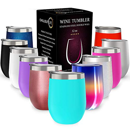 CHILLOUT LIFE 12 oz Stainless Steel Tumbler with Lid & Gift Box - Wine Tumbler Double Wall Vacuum Insulated Travel Tumbler Cup for Coffee, Wine, Cocktails, Ice Cream - Sweat Free, Powder Coated Tumble