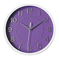 Decor Silent Wall Clock 10 Purple Dial 3D Numbers Non-ticking Decorative Wall Clock Battery Operated Round Easy to Read For School/Home/Office/Hotel