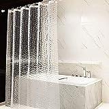 Duschvorhang 3D Wasserwürfel, EVA Wasserdicht, Halb-transparent Klar, Anti Schimmel, PVC-frei Umweltfre&lich Waschbar, 180 x 200cm Enthält nicht 12 Ringe, Bad Vorhang für Badezimmer Badewanne