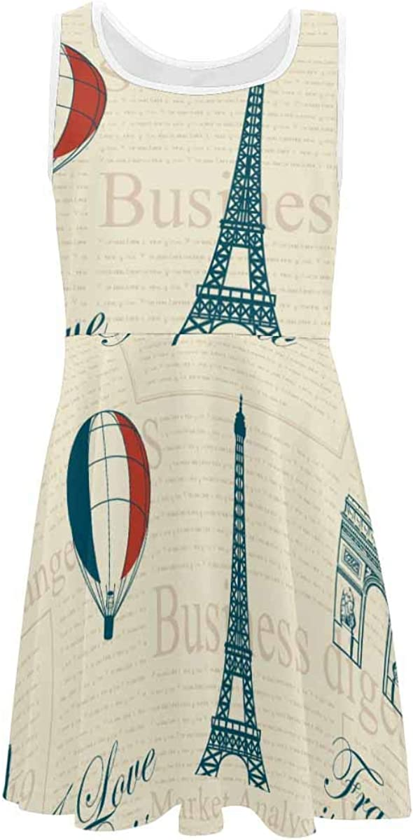 INTERESTPRINT Classic Girls A-Line Sleeveless Dress Summer Casual Dresses for 4-13 Years France and Paris Background M