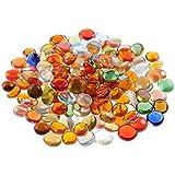 Guijarros de vidrio decorativos granulados, guijarros de vidrio redondos 230 PCS 1KG, cuentas de piedra de colores mezclados, jarrón, pepitas, piedras de mosaico, gemas de piedra para bricolaje