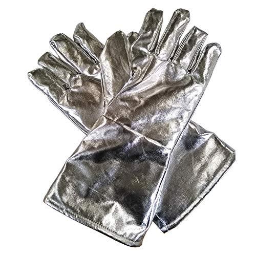 Kuizhiren1 Sicherheitshandschuhe aus Aluminium und Rindsleder, Hitzereflektierende Schweißhandschuhe Schutzhandschuhe 700/1000 Grad Hochtemperatur-Feuerhandschuhe, 700℃