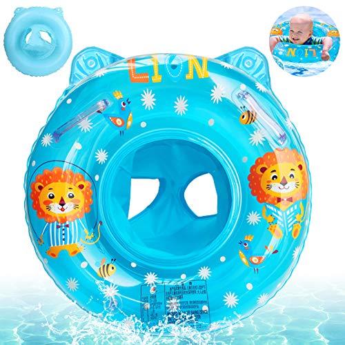 Anillo de Natación para Bebé,Anillo Flotador Bebe,Anillo de Natación Asient,Flotador Hinchable para bebé,Flotador Cuello Bebe,Inflable Flotador para Niños,Flotador Hinchable Ajustable (Azul)