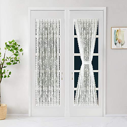 """Warm Home Designs Pair of 2 Ivory Color Lace French Door Curtain Panels are 52 Inch Wide by 72 Inches Long. Scalloped Doorway Sidelight Curtains Come with 2 Matching Tie-Backs. R Ivory 52"""" x 72"""""""