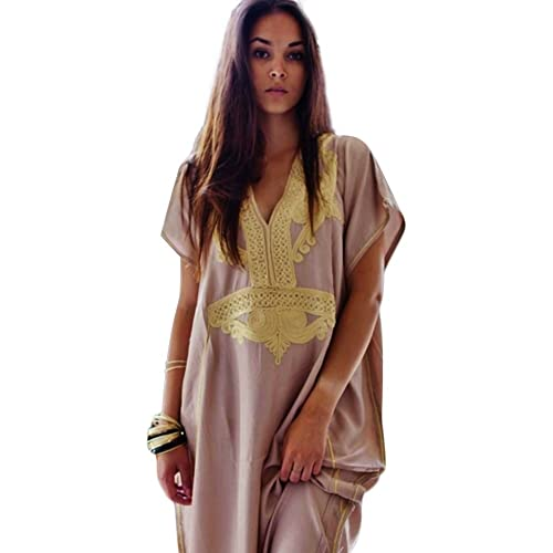 cfcb12b94f Maison de Marrakech Beige Gold Moroccan Maxi Dress Beach Cover Up Kaftan