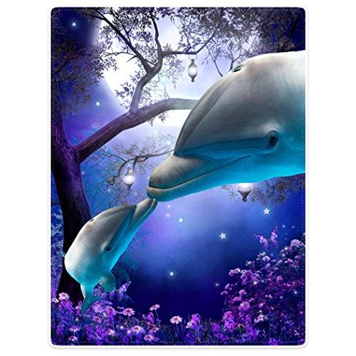 Violetpos Dick Decke Weich Wärme Gemütlich Flanell-Fleece Sofadecke Deckeldecke Lustiger Delphin Küsst Lila Wildblumen Helle Mondsterne 125 x 200 cm