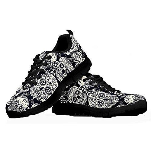 HUGS IDEA Sugar Floral Skull Tattoo Mode Sneakers Klassischer Schwarzweiss-Schuh Leichter Lace-up Athletic Running Walking-Schuhe-EU 44