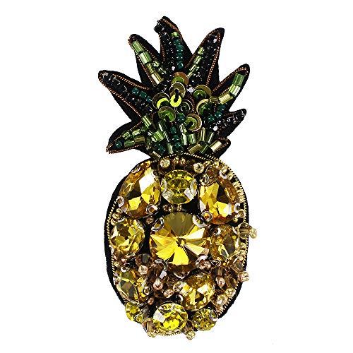 EMDOMO Beaded Strass Sequined Ananas Patches Handgemaakte Badges voor Broches Haarband Oorbel Sieraden 2 stuks