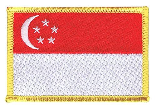 Flaggen Aufnäher Singapur Fahne Patch + gratis Aufkleber, Flaggenfritze®