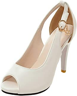 07e86fe79743b3 COOLCEPT Femme Mode Peep Toe Chaussures Bas Fermoir Talons Aiguille  Chaussures