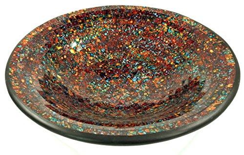 Guru-Shop Runde Mosaikschale, Untersetzer, Dekoschale, Handgearbeitete Keramik & Glas Obst Schale - Design 6, Braun, Größe: Klein (Ø 29 Cm), Schalen