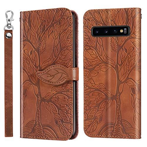 Hülle für Galaxy S10+ (S10 Plus) Hülle Handyhülle [Standfunktion] [Kartenfach] [Magnetverschluss] Tasche Etui Schutzhülle lederhülle klapphülle für Samsung Galaxy S10+ /G975F - JERX010239 Braun
