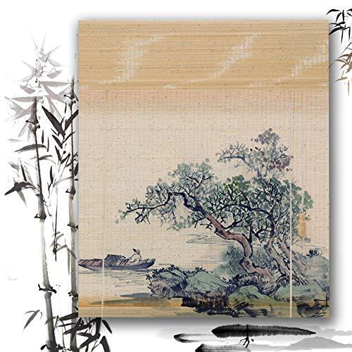 Estores De Bambú Persianas QIANDA Protección Privacidad Venecianas Enrollable Cortina Diseño De Impresión con Tracción Lateral Tabique, Alto X Ancho Personalizado (Color : E, Size : 60cm x 135cm)