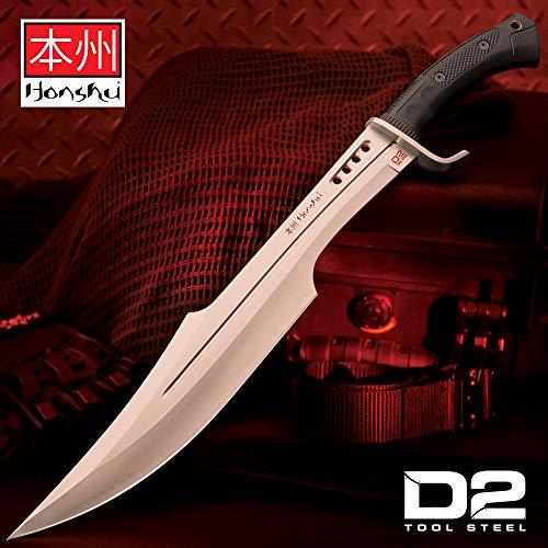 UNITED CUTLERY Honshu Spartan Sword Spezial Edition mit D2 Werkzeugstahl-Klinge einem rutschfestem TPR-Griff und Einer schwarzen Lederscheide mit Gürtelschlaufe und Beinbinde, UC3345D2