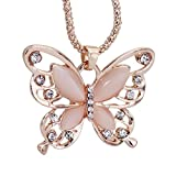 Comelyjewel Necklace Hollow Crystal Butterfly Pendant Necklace Jewelry for Women Girl Birthday Gifts Durable and Useful