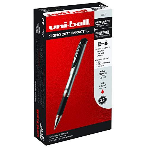 Uni-Ball 207 Impact Stick Rollerball Gel Pen, Red Ink, Bold Point, Dozen (SAN65802)