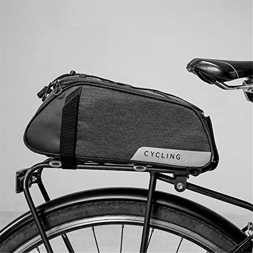moonlux - Borsa da Bicicletta Unisex per Adulti, 1 Borsa da Sella per Bicicletta, Borsa per Portapacchi da 7 l, Tasche a Spalla Riflettente, Colore Nero, 1