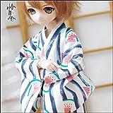哀れみ人形夏の日祭西瓜男款着物浴衣MDDMSD4分BJD人形服1/4青い色