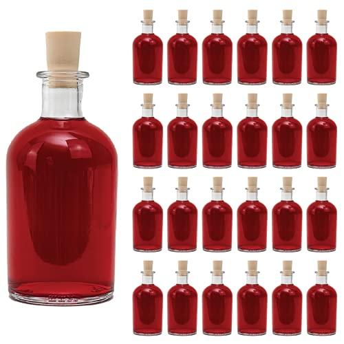casavetro Bottigliette Vetro con Tappo Sughero - 250 ml - Bottiglia Vuota in Vetro per Vino, Liquore, Acqua, Succo di Frutta, Conserve, Latte, Olio, Birra, Vino, Estratti, Amari (24 x 250 ml)