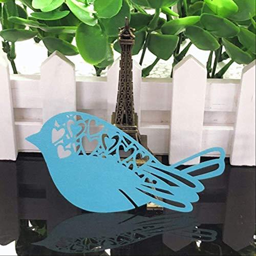 CARDH 10 Farben 50 Stücke Vögel Cut Tischkarte Tasse Karte DIY Tabelle Mark Weinglas Papier Karte Hochzeit Weihnachten Geburtstag Party Decor Deep Blue