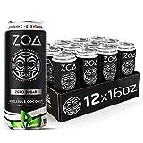 ZOA Zero Sugar Energy Drink, Pineapple Coconut, 16 oz. (12 Pack) - Supports Immunity, Focus, Hydration, Body & Energy - 100% DV Vitamins C, B6 & B12