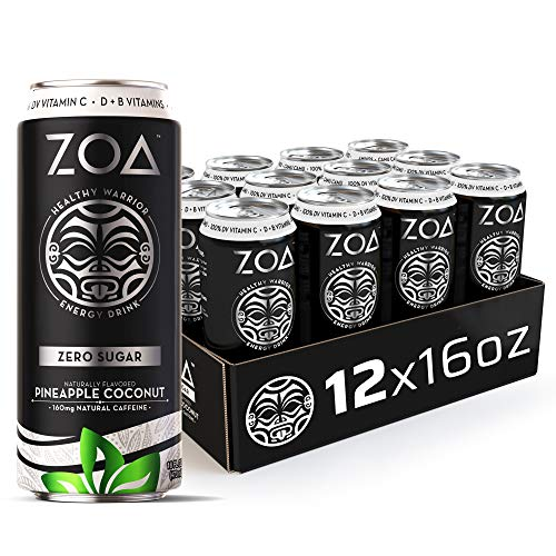 ZOA Zero Sugar Energy Drink, Pineapple Coconut, 16 oz. (12 Pack) -...