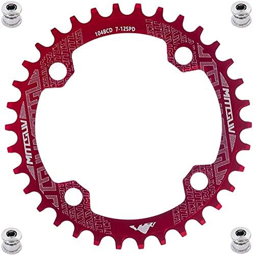 YBEKI 32T 34T 36T 38T 40T 42T 44T 46T 48T 50T 52T Runden Oval Fahrrad Kettenblatt, Schmale Breite Kettenblätter 104 BCD für Rennrad Mountainbike BMX MTB (rot runden, 48T)