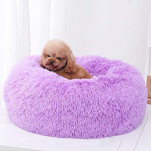 DAKERTA Haustierbett für Katzen und Hunde Rundes Plüsch Hundebett Katzenbett in Doughnut-Form Farbe und Größe Optional (S, Lila)
