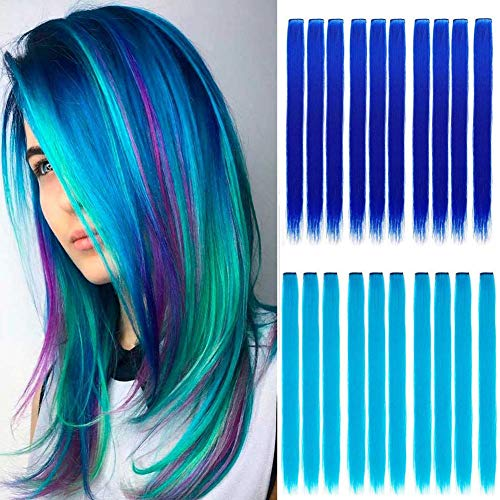 Wiysday 20PCS Colored Clip in Hair Extensions Kid Hair Extensions 22'' Blue Straight Hair Extensions Clip in for Kids Multi-Colors Party Highlights Hairpieces. (Sapphire Blue+Teal Blue)