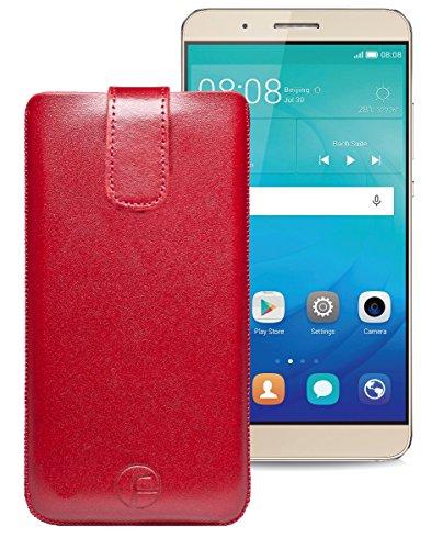 Favory Tasche Leder Etui / Huawei ShotX / ECHT Ledertasche Hülle Schutzhülle (Lasche mit Rückzugfunktion) rot