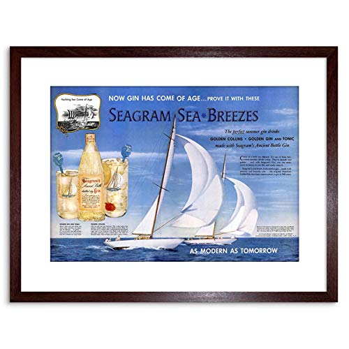 The Art Stop AD Drink Alcohol Gin Seagram Yacht Ocean SAIL Framed Print F97X2207