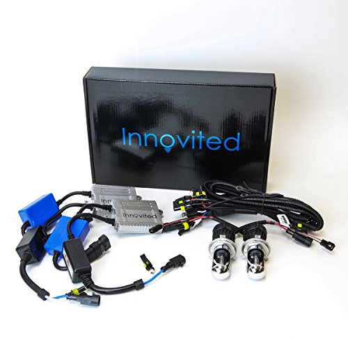 Innovited Premium AC Canbus Error Free HID Bundle - No Flicker with (1 Pair) Ballast and (1 Pair) Bulb - H4-3 9003-8000K Bi xenon HI/LO - Ice Blue