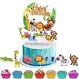 SANON 36 Unids/Set Cupcake Topper Set Feliz Cumpleaños Topper + Animales de Dibujos Animados Cupcake Toppers para Fiesta Temática de Animales de Cumpleaños Infantil
