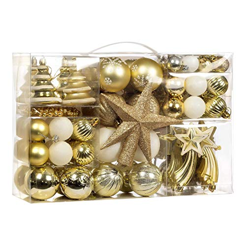 100-Pcs Champagne Gold Christmas Ball Ornaments Assorted Shatterproof Christmas Ball Set with Reusable Hand-held Gift Package for Xmas Tree Decoration