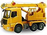 Wlnnes Regalo de cumpleaños gigante de luz y sonido de fricción 1:20 ABS de la rueda trasera de la grúa Inercial camión Ingeniería brazo de la grúa de juguetes educativos for niños pull back trabajo d