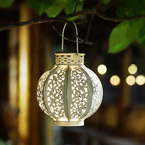 MAGGIFT 2 Pack Hanging Solar Lights Outdoor Solar Lights Retro Hanging Solar Lantern with Handle, Beige White