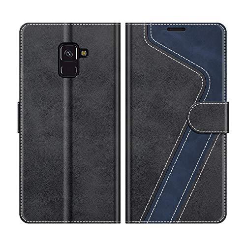 MOBESV Handyhülle für Samsung Galaxy A8 2018 Hülle Leder, Samsung Galaxy A8 2018 Klapphülle Handytasche Case für Samsung Galaxy A8 2018 Handy Hüllen, Modisch Schwarz
