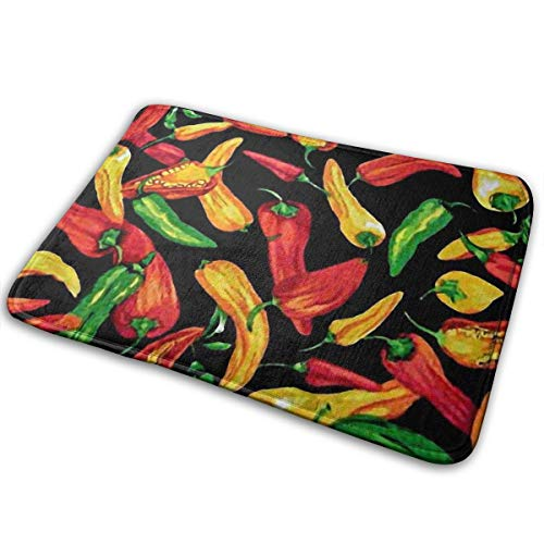 Zoe Diro Red Green Chili Pepper Entrance Door Mat Bath Floor Home Non Slip Doormat Offices Rug Kitchen Bathroom Carpet Decor 15.7x23.6 in