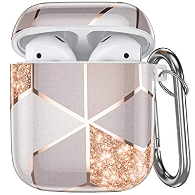 Ouwegaga Compatible with Airpods Case, Printed Full Protective TPU Case Cover with Keychain Compatible with Airpods 2 & 1, Support Wireless Charging, Gold Pink by Ouwegaga